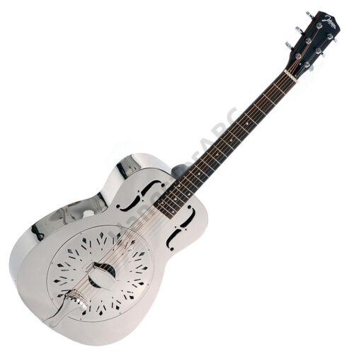 Johnson fémtestű rezonátoros gitár, nikkelezett