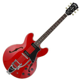 Cort SourceBV-CR with bag el.gitár tokkal, félakusztikus, Bigsby-vel, cseresznye