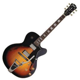 Cort YorktownBV-TAB with bag félakusztikus gitár tokkal, Bigsby-vel, tobacco sunburst