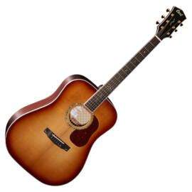 Cort Gold-D8-LB with case akusztikus gitár, All solid, világos burst