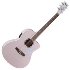 Cort JADE-Classic-PPOP with bag akusztikus Lady-gitár elektronikával, puhatokkal, pasztell rózsaszín