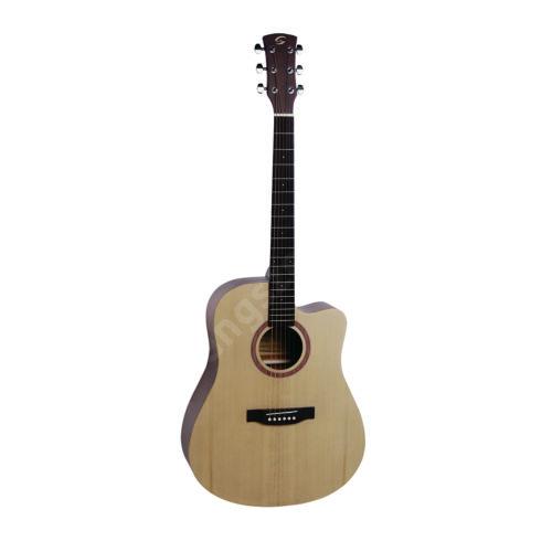 GRAND TETON-DNCE-NT - Dreadnought cutaway elektroakusztikus gitár, nyitott pórusú szatén felülettel, előerősítővel